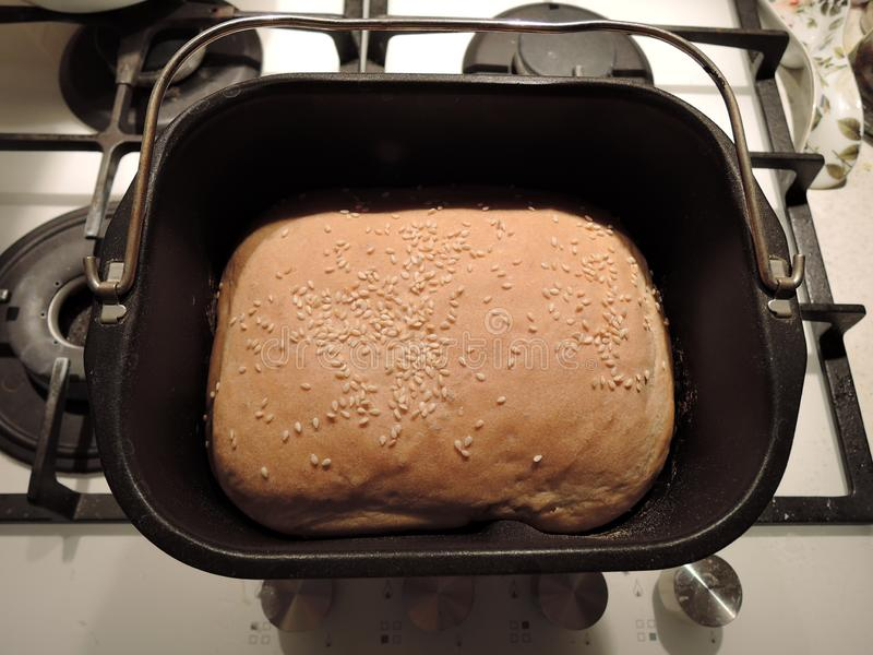 Взгляд сверху формы создателя хлеба и коркы свежего испеченного хлеба стоковое изображение rf
