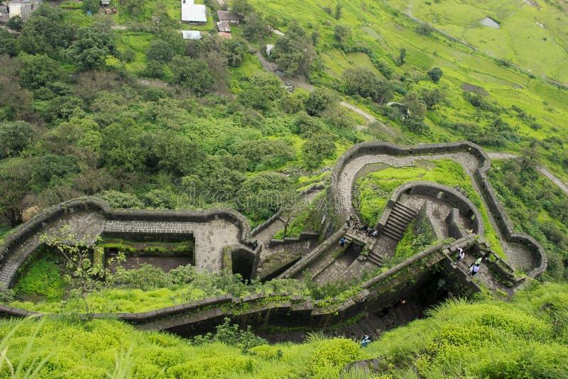 Взгляд сверху форта lohagad стоковая фотография