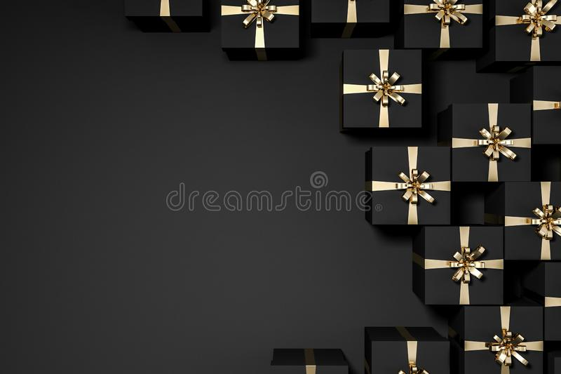 Взгляд сверху черноты и подарочных коробок золота иллюстрация вектора