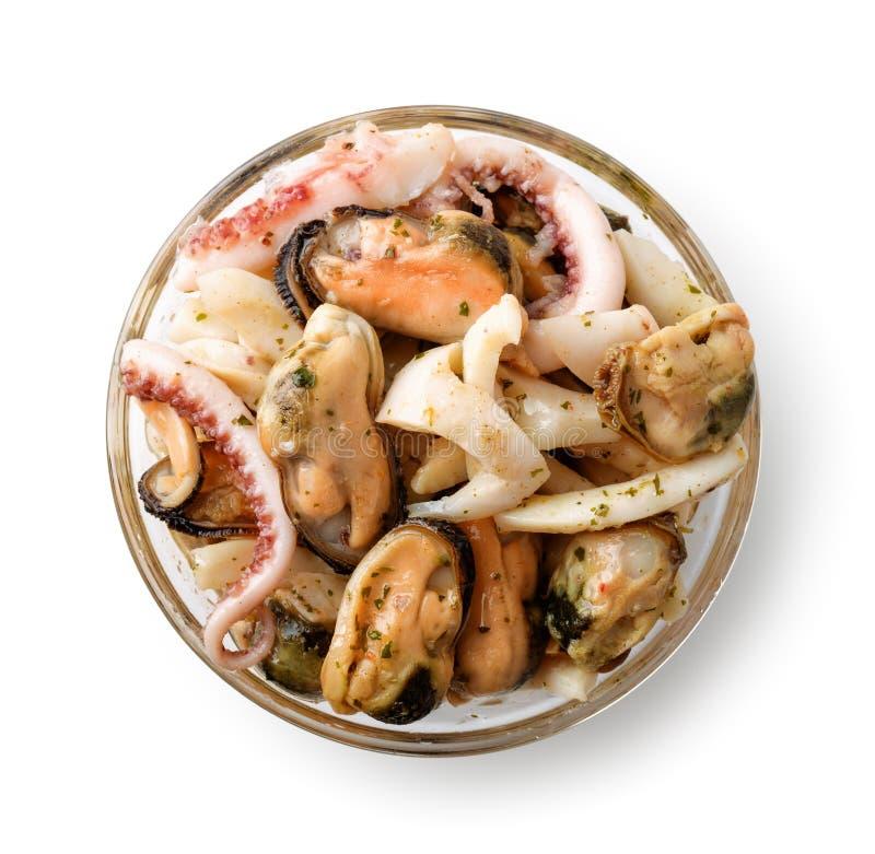Взгляд сверху шара lass с смешиванием морепродуктов стоковая фотография