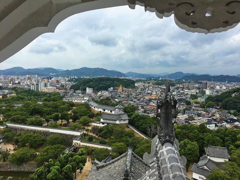 Взгляд сверху himeji- замка Himeji стоковая фотография