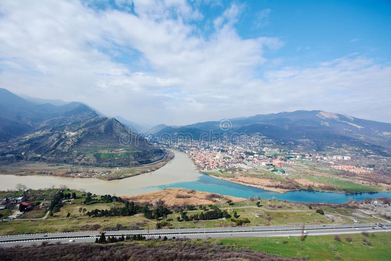 Взгляд сверху Mtskheta, стоковые изображения rf