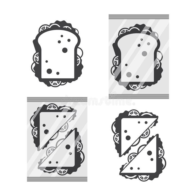 Взгляд сверху Sandwiche в monochrome цвете изолированном на белых предпосылке, закуске фаст-фуда на завтрак и обеде, плоско иллюстрация вектора