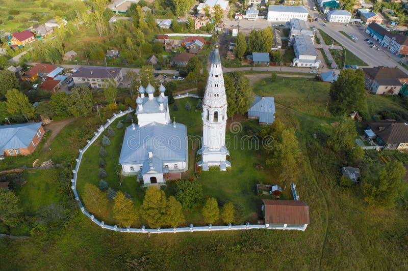 Взгляд святого собора Transfiguration, съемка дня в сентябре от quadrocopter Sudislavl, Россия стоковое фото rf