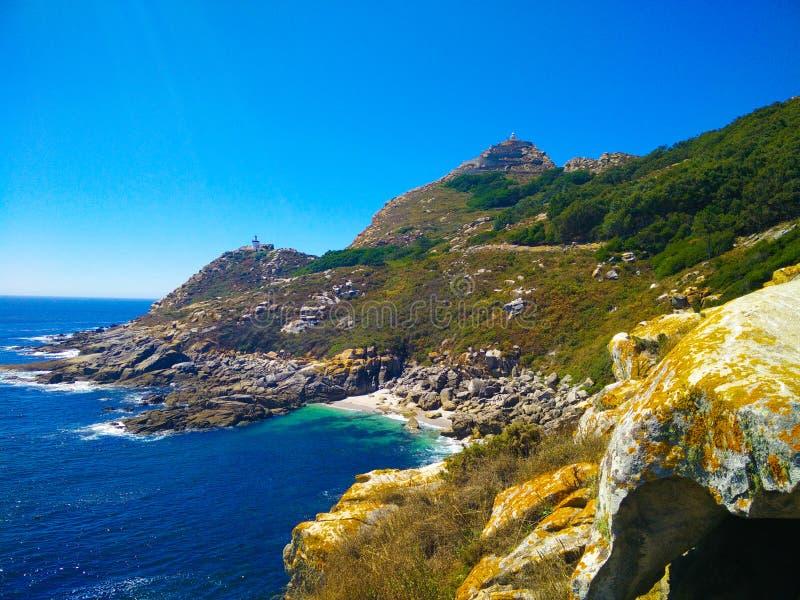 Взгляд скал островов Cies, естественный рай в Галиции, s стоковые изображения