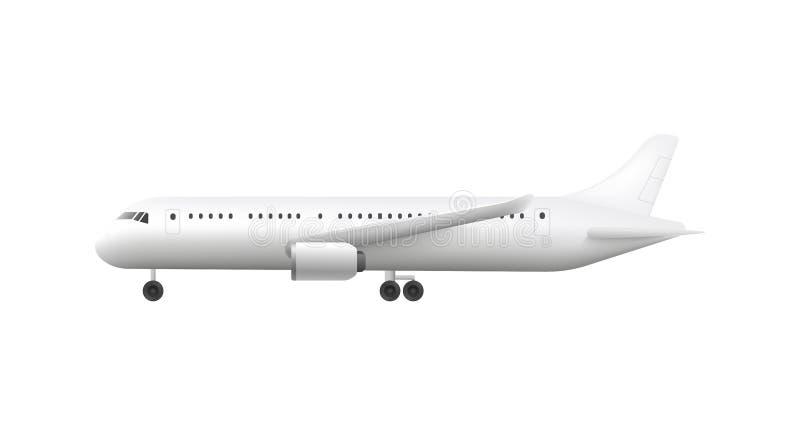 Взгляд со стороны воздушных судн или белого пустого модель-макета иллюстрации вектора самолета 3d изолировал иллюстрация штока