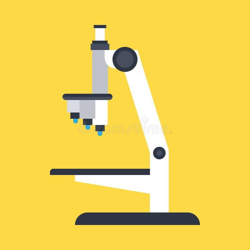 Взгляд со стороны значка вектора микроскопа лаборатории Изолированный наукой объектив equiment образования биологии Эксперимент п бесплатная иллюстрация
