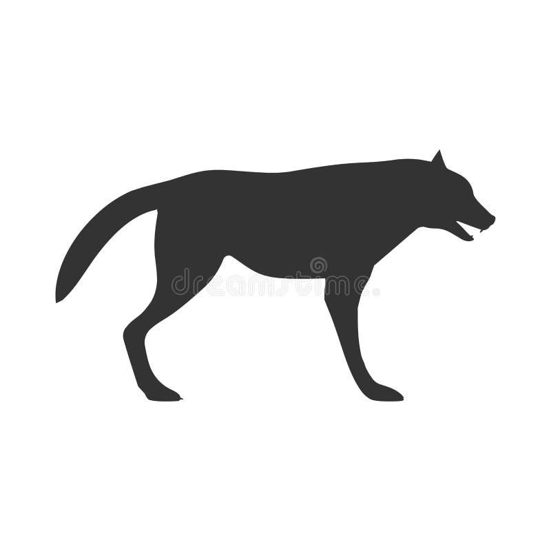 Взгляд со стороны значка вектора черноты волка Животное знака мультфильма опасности llustration силуэта млекопитающееся Сформируй иллюстрация штока