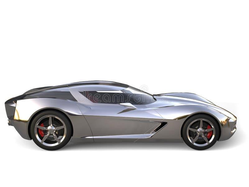 Взгляд со стороны красивой металлической супер концепции спорт автомобильный иллюстрация штока