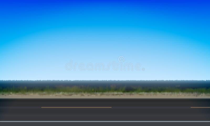 Взгляд со стороны луга зеленого цвета обочины дороги и ясной предпосылки голубого неба, иллюстрации вектора бесплатная иллюстрация