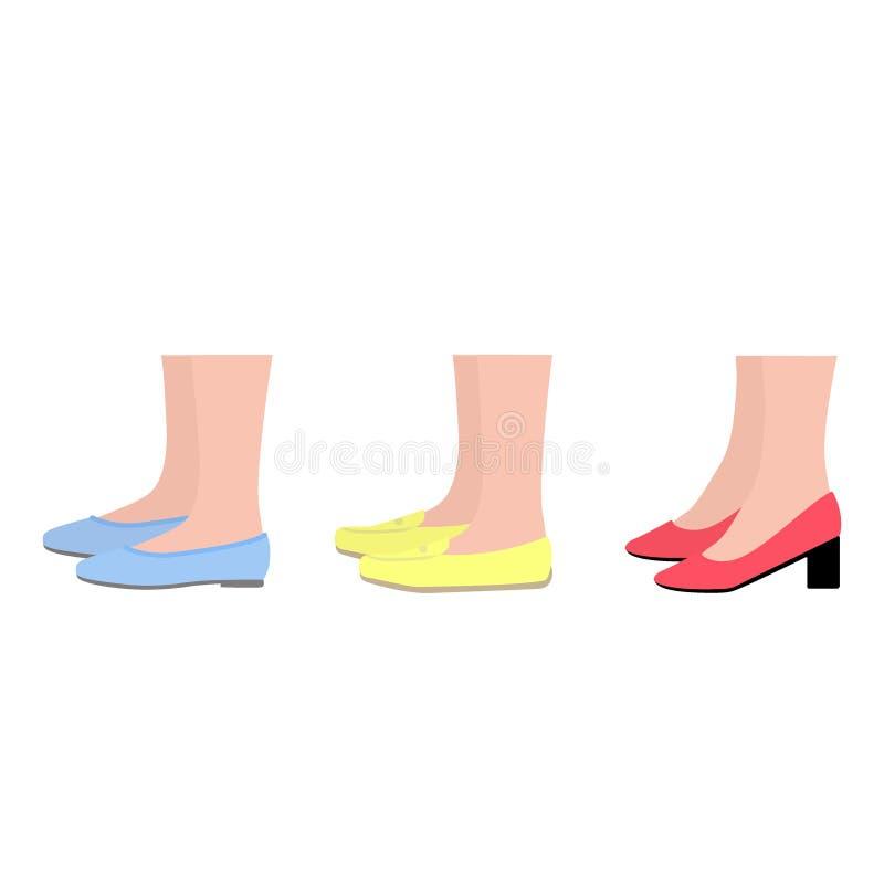 Взгляд со стороны обуви лета Ботинки женщин Ноги в ботинках иллюстрация вектора