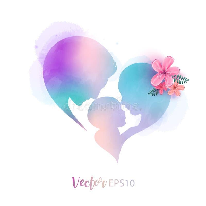 Взгляд со стороны отца и матери целуя их младенца ребенка с силуэтом символа сердца плюс абстрактный покрашенный цвет воды цифров бесплатная иллюстрация