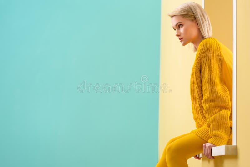 Взгляд со стороны стильной женщины стоковая фотография rf
