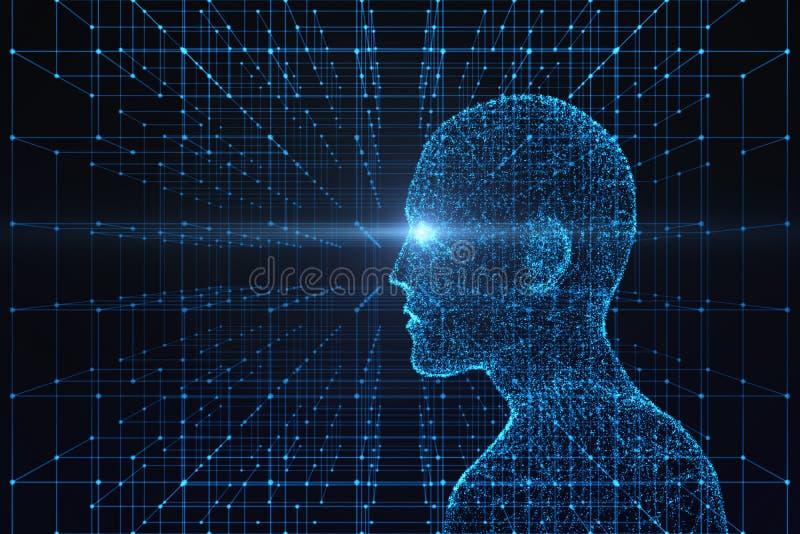 Взгляд со стороны человеческого тела с светлым пирофакелом Модель на голубом backgrou бесплатная иллюстрация