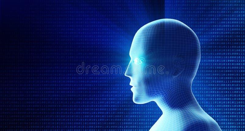 Взгляд со стороны человеческой головы и бинарного кода Модель изолированная на сини иллюстрация штока