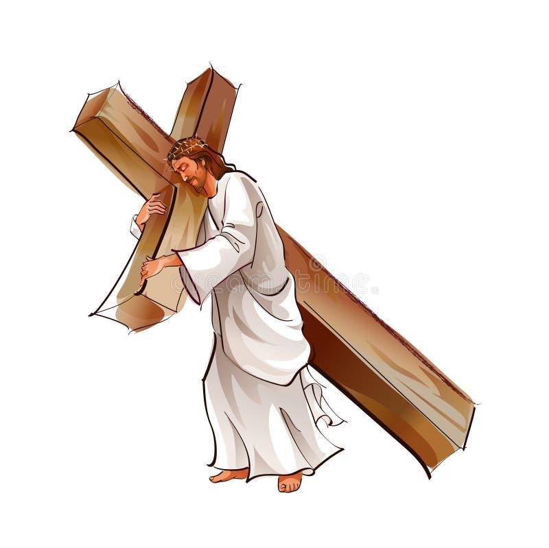 взгляд со стороны christ перекрестный держа jesus иллюстрация вектора