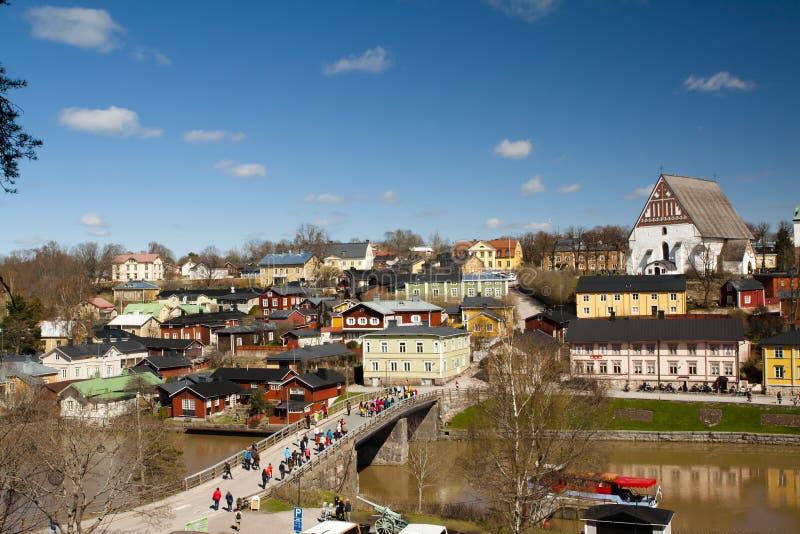 Взгляд средневекового собора Porvoo церков и старого городка, Финляндии стоковое фото rf