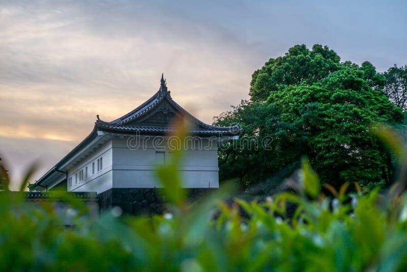 Взгляд стен имперских садов в токио на заходе солнца - 2 стоковое изображение rf