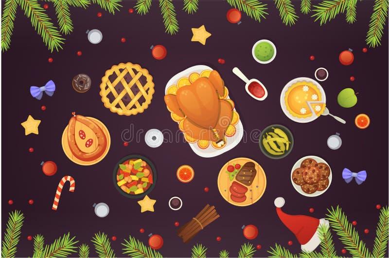 Взгляд столешницы рождества, блюда с индюком, печенья, десерт и украшения Иллюстрация еды вектора Нового Года иллюстрация вектора