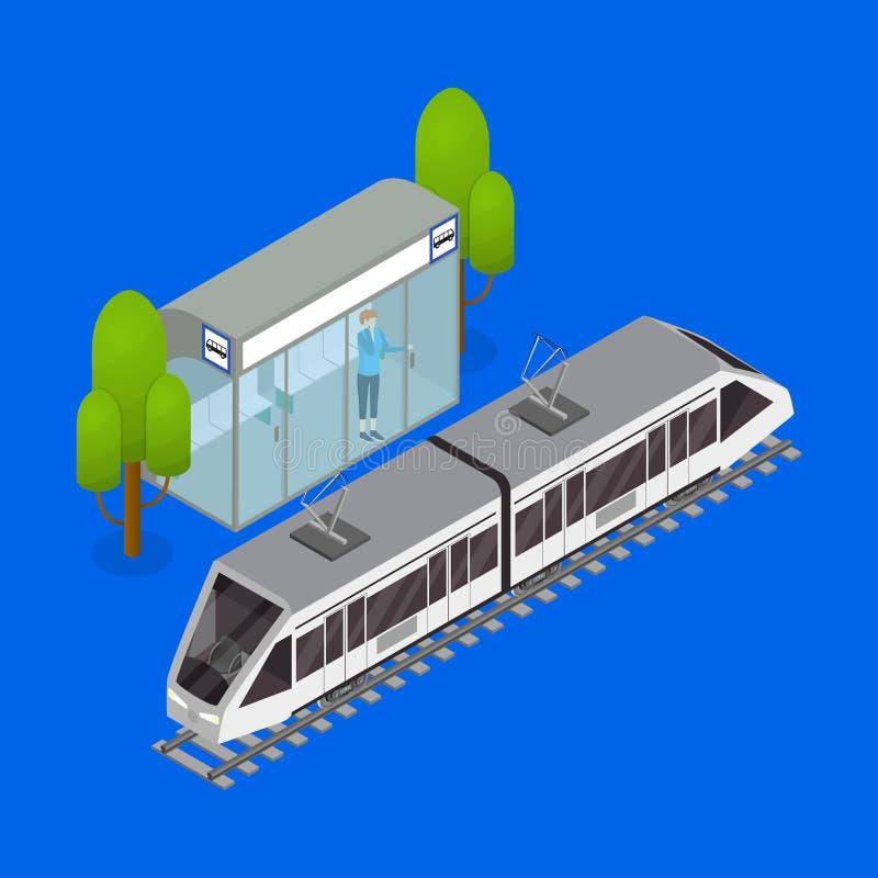 Взгляд трамвая 3d общественного транспорта города равновеликий вектор иллюстрация вектора