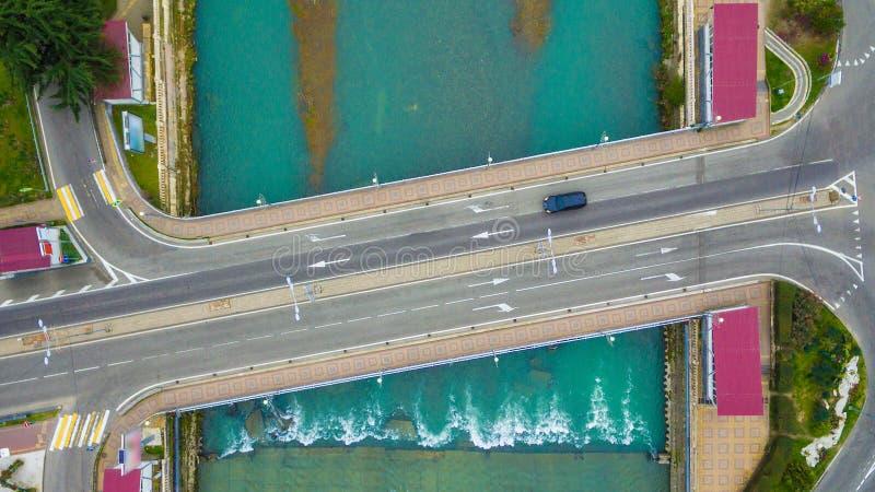 Взгляд трутня моста Kubanskiy в Сочи, России стоковое фото