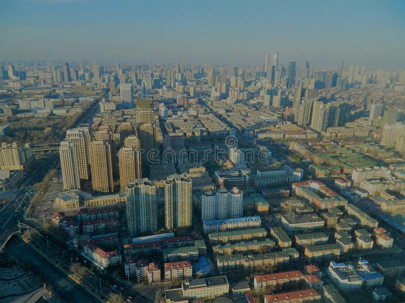 Взгляд Тяньцзиня от радиовышки стоковая фотография