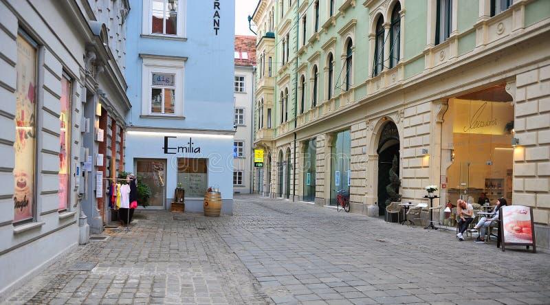 Взгляд угла улицы в Граце стоковые изображения rf