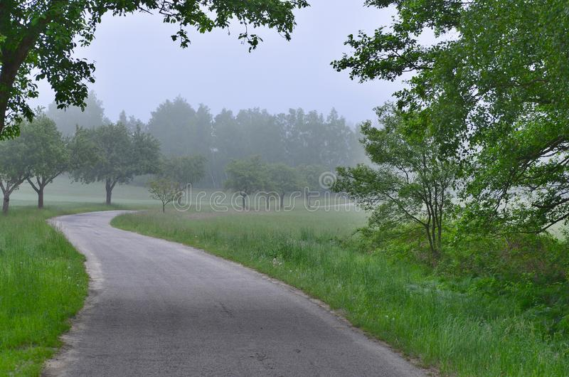 Взгляд утра сельской местности в южной Богемии стоковое фото
