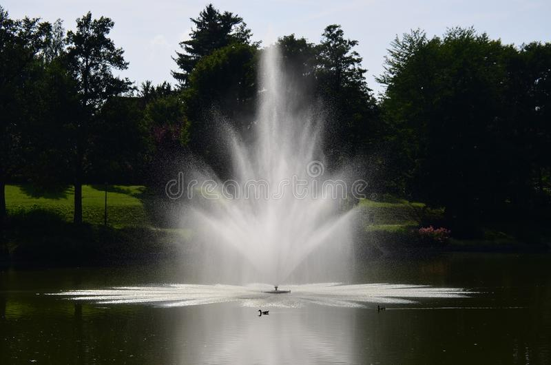Взгляд фонтана, парка курорта, Kudowa Zdroj стоковые изображения rf