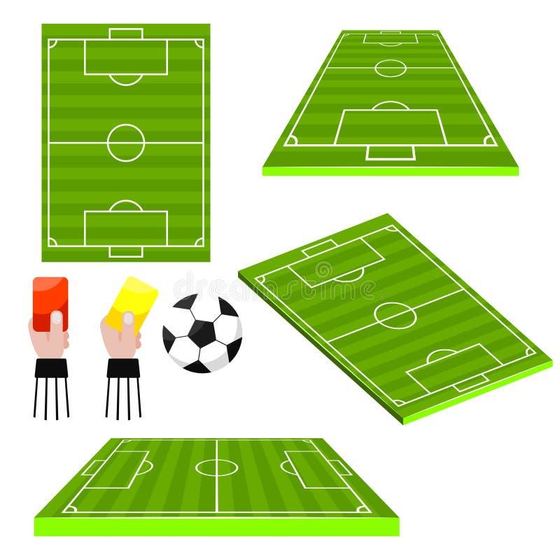 Взгляд футбольных полей футбола различный встает на сторону объекты вектора иллюстрация вектора