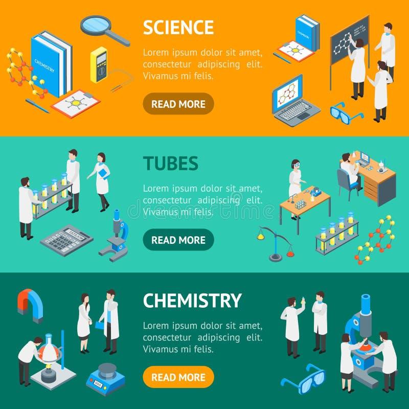 Взгляд химического фармацевтического знамени 3d науки горизонтальный установленный равновеликий r иллюстрация вектора