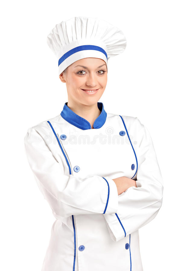 взгляд хлебопека женский счастливый представляя стоковая фотография rf