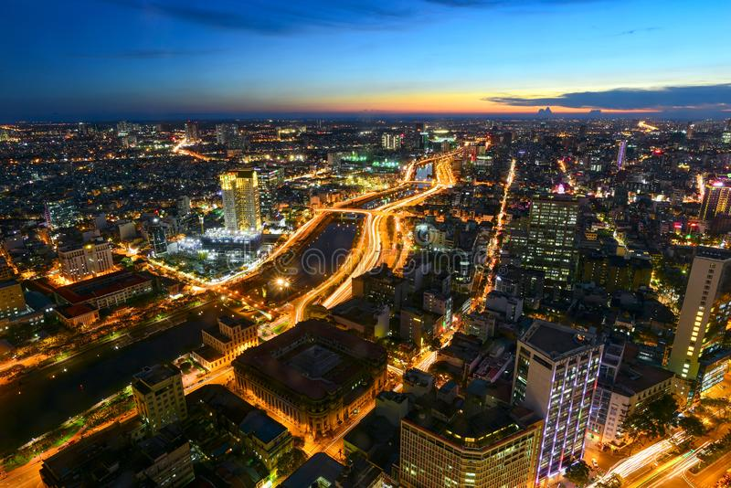 Взгляд Хошимина от верхней части башни Bitexco финансовой стоковые фото