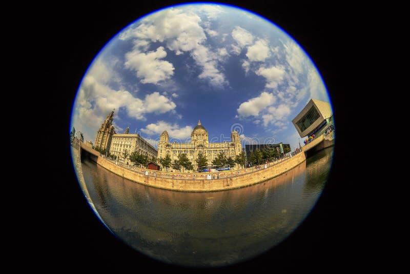 Взгляд центра города в Ливерпуле, Великобритании стоковые изображения rf