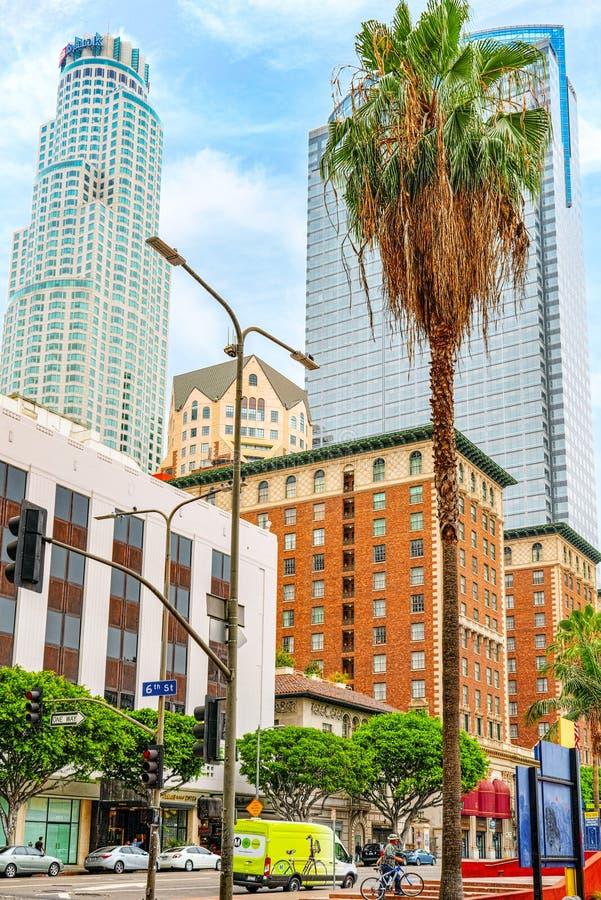 Взгляд центра города Лос Ангелоса, в дневном времени стоковые изображения