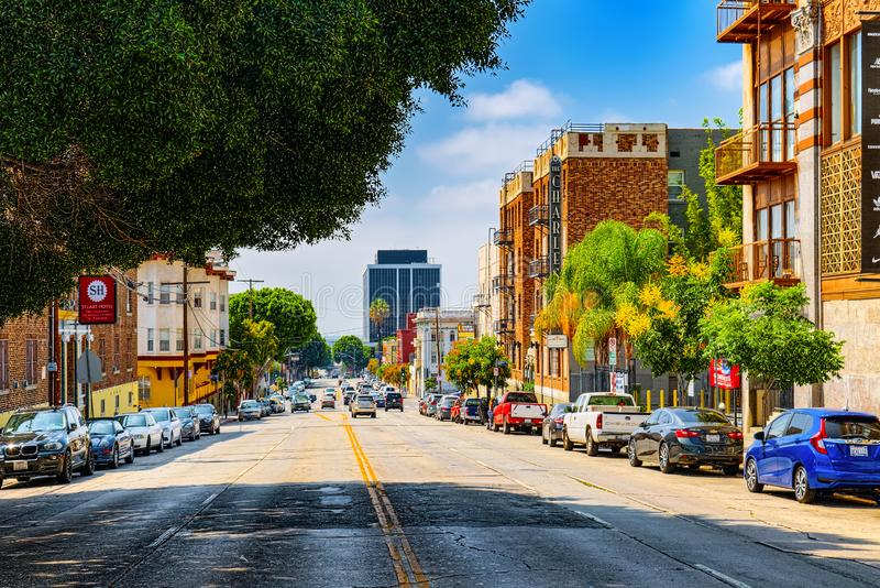 Взгляд центра города Лос Ангелоса, в дневном времени стоковое изображение rf
