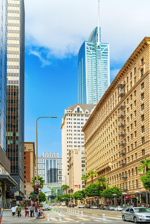Взгляд центра города Лос Ангелоса, в дневном времени стоковое фото
