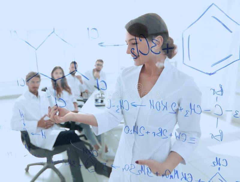 Взгляд через прозрачную доску женский biochemist анализируя информацию стоковые фотографии rf