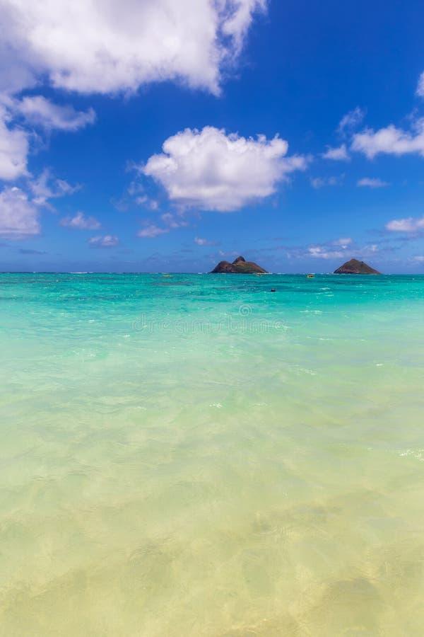 Взгляд ясной воды бирюзы и 2 островов на пляже Lanikai, Оаху стоковая фотография