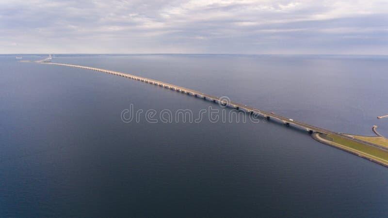 Взгляд Aerrial моста Korsor стоковое фото