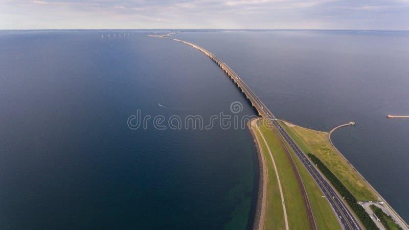 Взгляд Aerrial моста Korsor стоковое фото rf