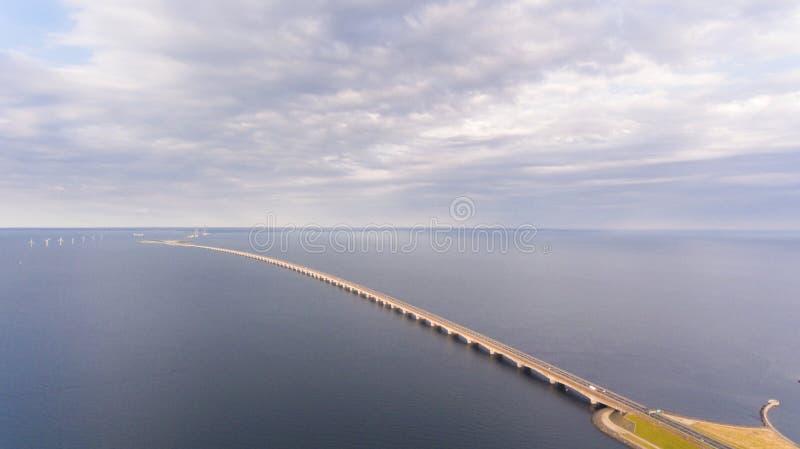 Взгляд Aerrial моста Korsor стоковая фотография