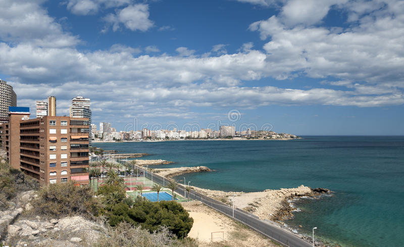 взгляд alicante de playa albufereta стоковая фотография rf