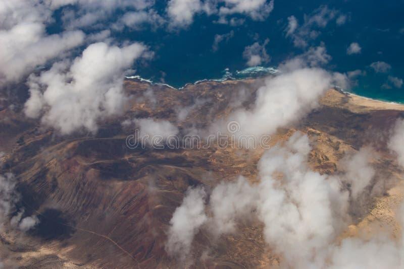 Взгляд Birdseye Ла Graciosa, соседнего острова Лансароте, Испании стоковое фото rf