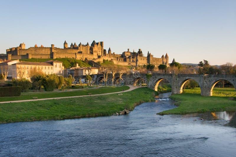 взгляд carcassonne темный Франции стоковое изображение rf