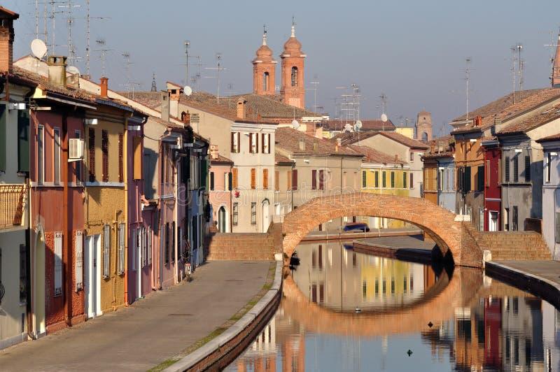 Взгляд Comacchio, Феррары, эмилия-Романьи, Италии стоковое фото rf
