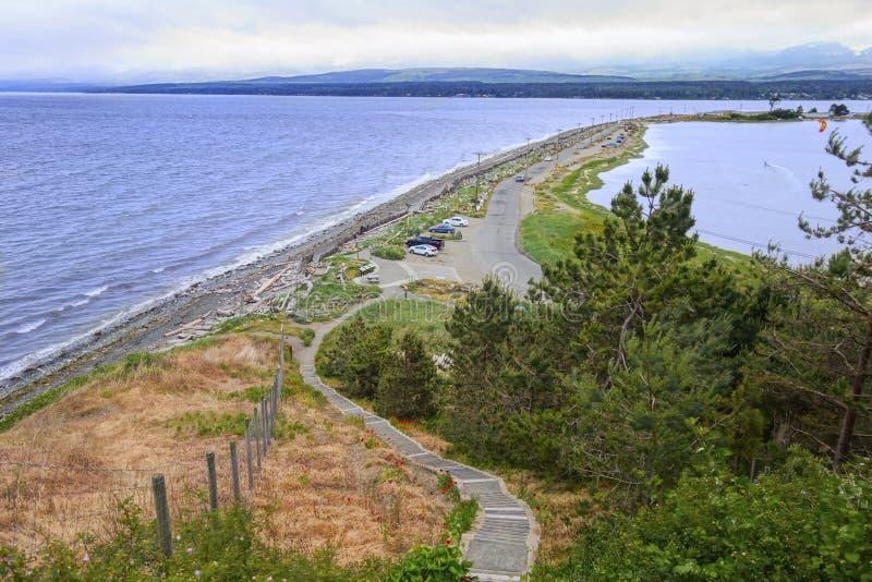 Взгляд Comox ДО РОЖДЕСТВА ХРИСТОВА Канада ландшафта парка вертела гусыни региональный стоковое фото