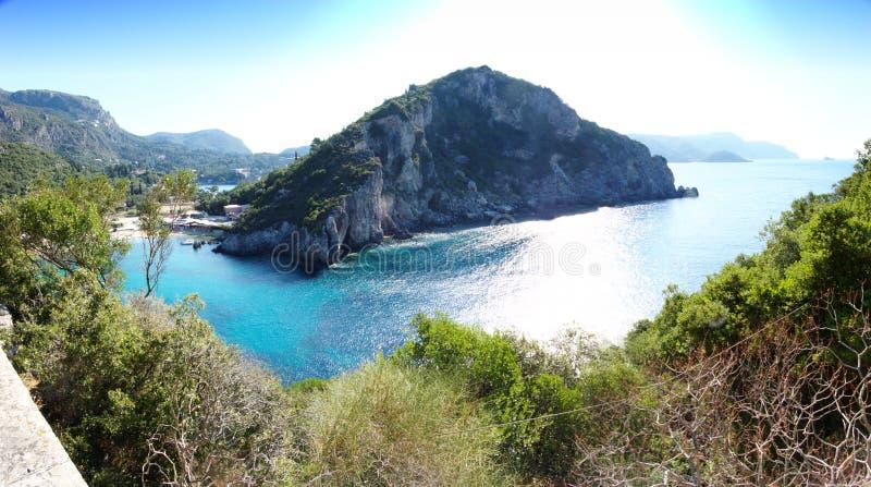 взгляд corfu панорамный стоковые изображения