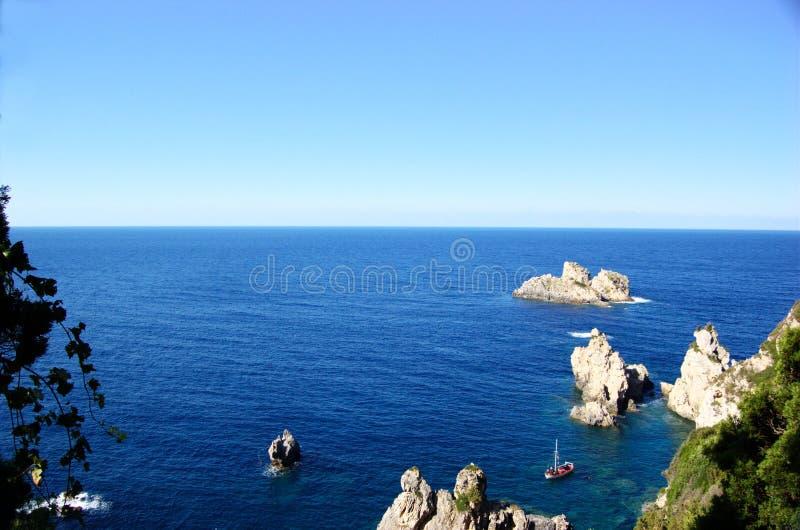 взгляд corfu панорамный стоковые фотографии rf