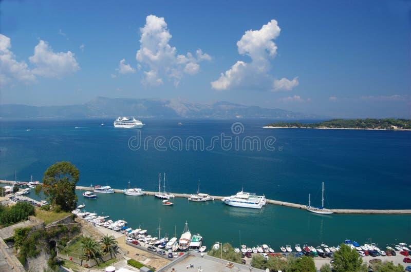 взгляд corfu панорамный стоковое фото rf